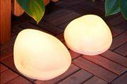 Lámpara solar con forma de piedra