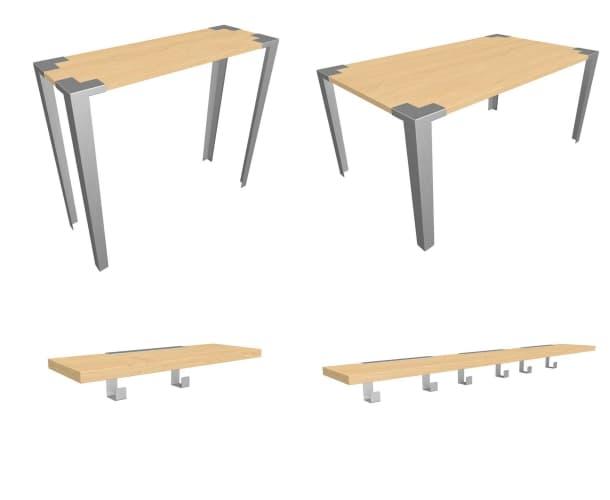 mesas estantes Soapbox madera acero