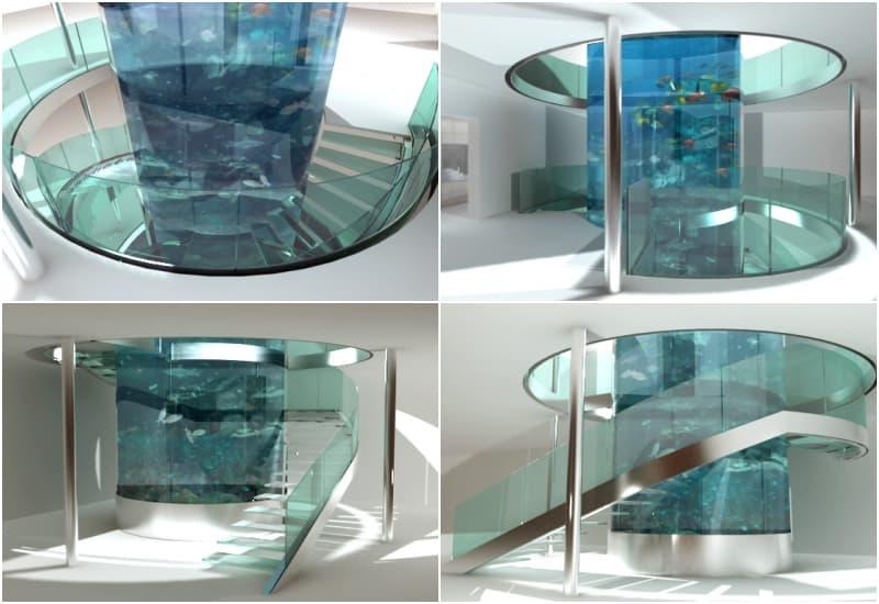 Escalera helicoidal de vidrio en voladizo sobre zanca de - Escalera caracol prefabricada ...