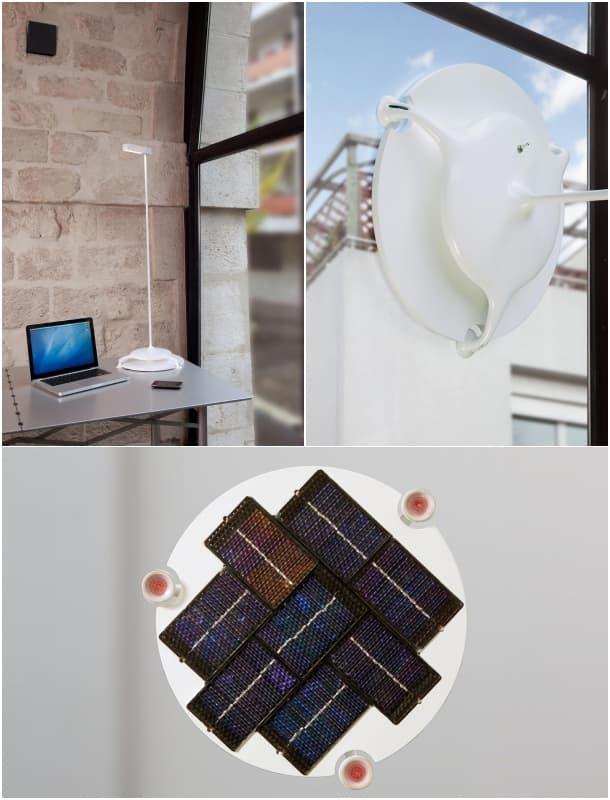 l mpara solar de interior con ventosas en su base para