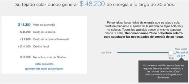 precio de la teja solar de Tesla