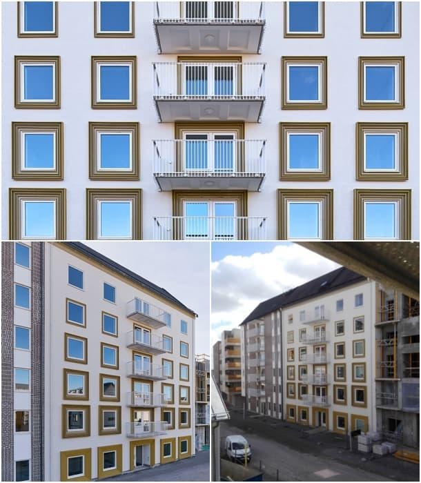 fachada bloque de pisos Linkoping Suecia
