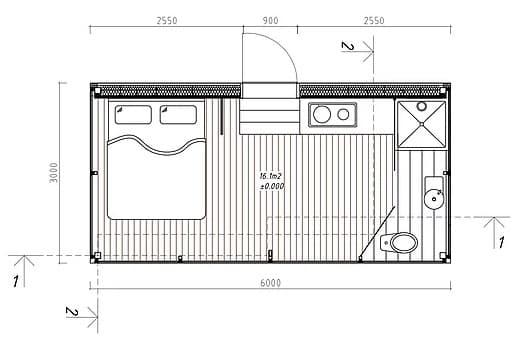 habitación prefabricada ÖÖD - plano planta