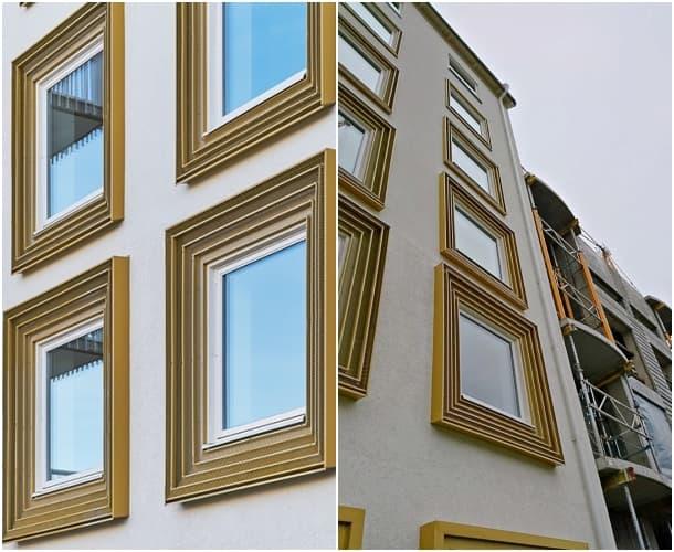 ventanas enmarcadas bloque de apartamentos Suecia