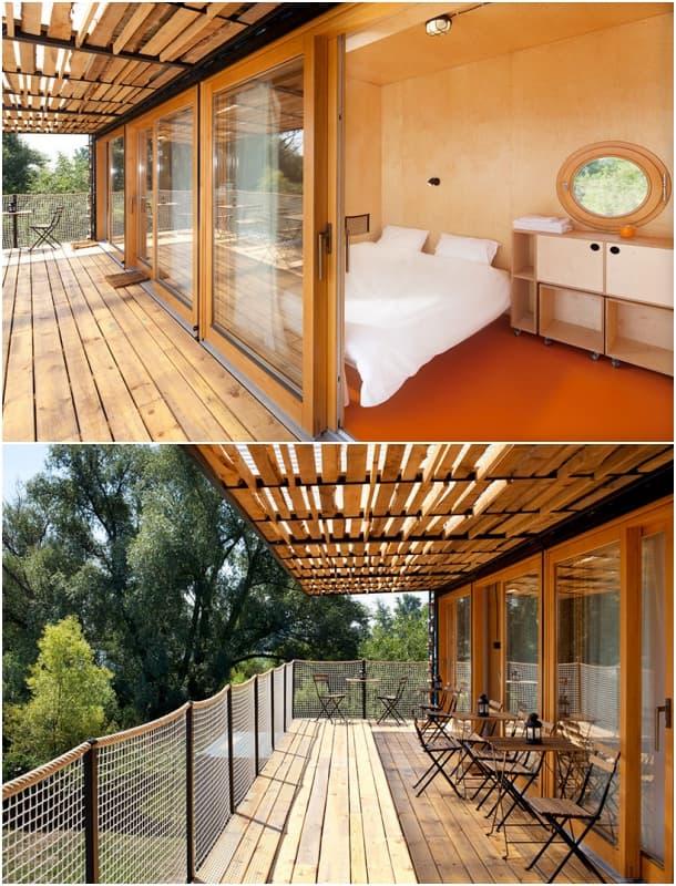 ContainHotel - terraza con habitaciones