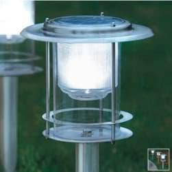 L mpara solar de exterior con cuerpo de acero inoxidable y sensor - Lampara solar exterior ...