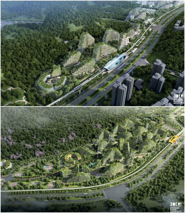 vistas aéreas Ciudad Bosque de Liuzhou