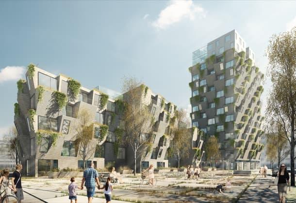 viviendas con jardines en fachada Copenhague