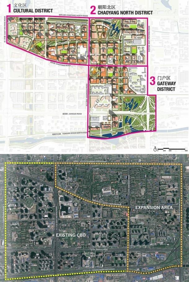 ampliacion del CBD de Pekin - situacion y zonificacion