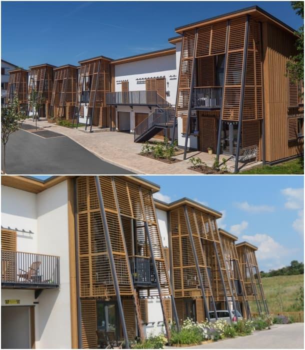 fachada casas barrio ecologico Hanham Hall UK